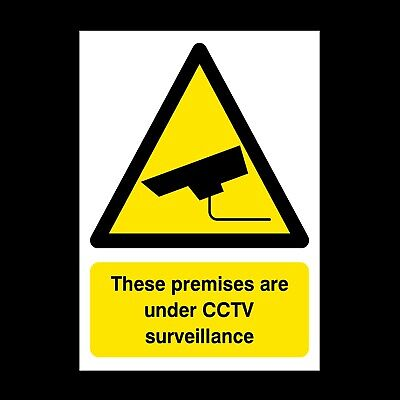Cctv - This Premises Are Under Surv Signs & Stickers All Sizes! Free P+P (S19)