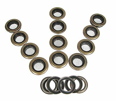 """Cigar Box Guitar Parts: 12pc. 1"""" Antique Brass Screened Grommets 32-27-02"""