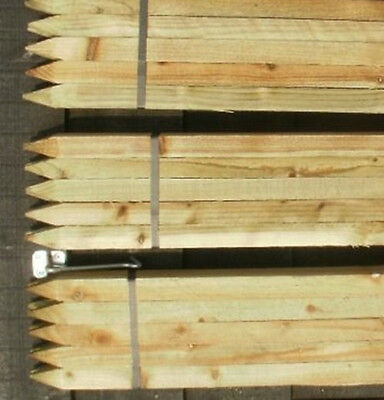 20 x 4ft (1.2m) Square & Pointed Wooden Pressure Treated Tree Stakes Posts fence