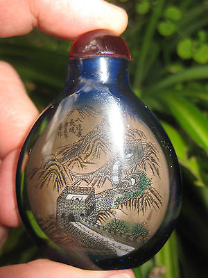 Chinese antique snuff blue glass bottle: Great Wall of China