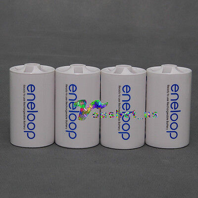 4PCS Sanyo Eneloop Battery Adaptor Converter AA R6 to D R20 D-Size