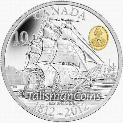 Canada 2012 War of 1812 200th HMS Shannon $10 Gold Plated Pure Silver Proof