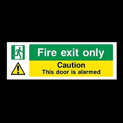 FIRE EXIT ONLY SIGNS & STICKERS ALL MATERIALS 300x100 FREE P+P (S36)
