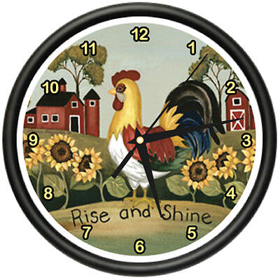ROOSTER  Wall Clock farmer kitchen home bird rise shine