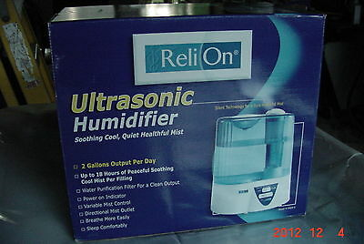 ReliOn Ultrasonic Humidifier Model H-0556-0 NIB Retail $49.99
