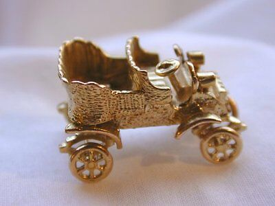 Stunning Very Heavy 9Ct Gold Large Old Vintage Car Charm / Has Moving Wheels