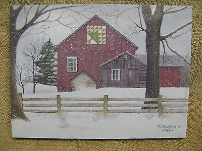 Christmas Pine Tree Quilt Canvas Barn Farm House Snow Winter Painting Wall small