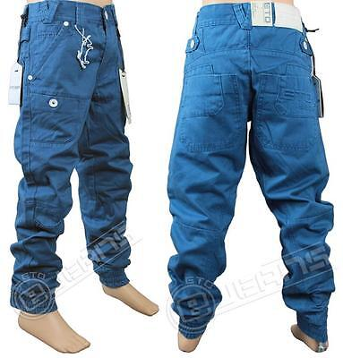 Boys New Eto Eb243 Brand Cuffed Blue Chino Jeans Sizes 24-29. *bargain Price*