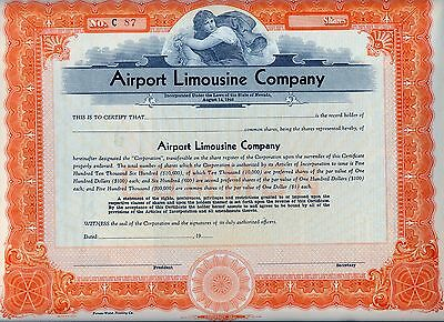 Airport Limousine Company Stock Certificate Nevada Automobile Airline