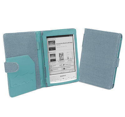 Cover-Up Sony Reader PRS-T1 / PRS-T2 Natural Hemp Book Style Case - Aegean Blue