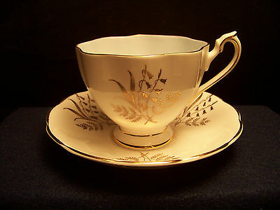 Queen Anne One baby blue footed  tea cup & saucer, # 5961 Bone China England