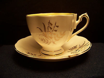 Queen Anne One pastel yellow footed  tea cup & saucer, #5961 Bone China England
