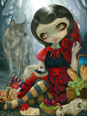 Jasmine Becket-Griffith art print SIGNED Red Riding Hood's Picnic fairytale wolf