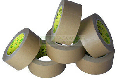 Brown Paper Kraft Tape Rolls Adhesive 48mm x 66m Eco Friendly CHOOSE YOUR QTY
