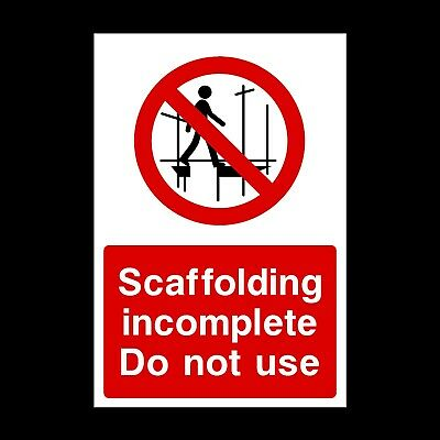 Scaffolding Incomplete Signs & Stickers Large Sizes! Thick Materials! (Css6)