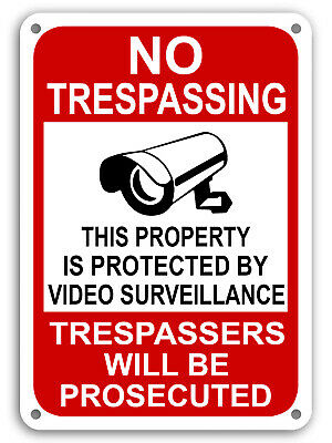 Property Protected By Video Surveillance Warning Security Camera Sign cctv 7x11""