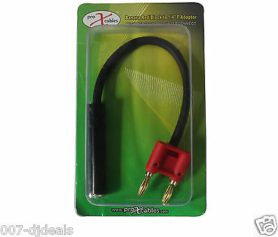 "6"" 1/4 female to banana speaker cord cable jack DJ audio adapter red SX-BNQF-RD"
