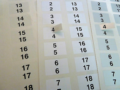 31x10mm TWINS Consecutive Sequential Numbering Labels Number Stickers 3 Colours