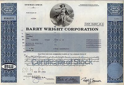 Barry Wright Corporation Stock Certificate
