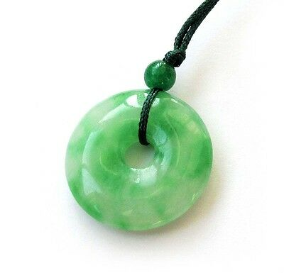 Green Jade Peace Buckle Circle Donut Amulet Pendant Talisman Happy Lucky Jewelry