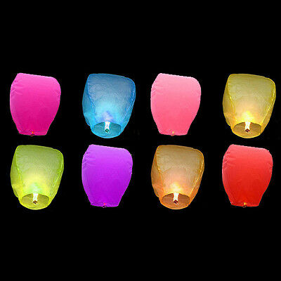 1 Pack Multi Color Chinese Lanterns Sky Fly Candle Lamp for Wish Party Wedding
