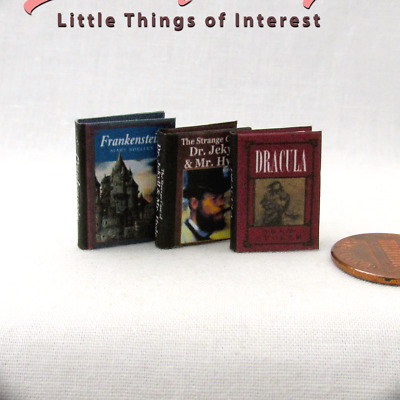 HORROR CLASSIC SET (3) Miniature Books Dollhouse 1:12 Scale Readable Illustrated
