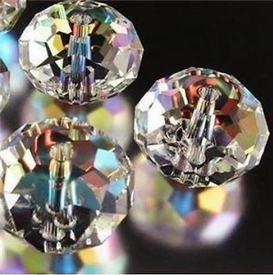 72pcs 6x8mm White Clear +AB Crystal Faceted Gems Loose Beads
