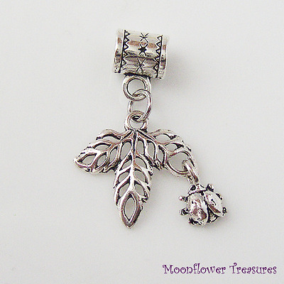 Tibetan Silver Leaves with Tiny Ladybug Dangle Charm fit European Bracelet