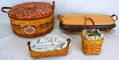 Lot of 4 Longaberger Baskets from the '90s with Leather Handles