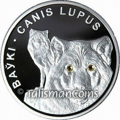 Belarus 2007 Two Wolves 20 Rubles Wolf Pure Silver Proof w/ Swarovski Crystals