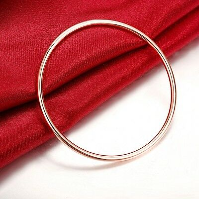 18K Rose Gold Plated Classic Women's 3MM Solid Bangle Bracelet Ideal Gift