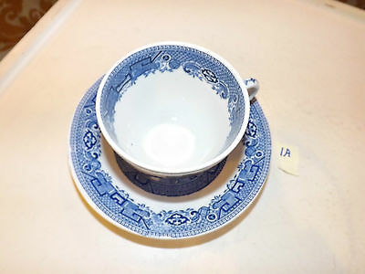 Vintage Blue Willow North Staffordshire Pottery England Ridgway Cup & Saucer