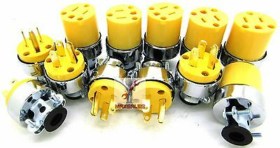 (12-pc) Male & Female Extension Cord Replacement Electrical Plugs 15AMP 125V End