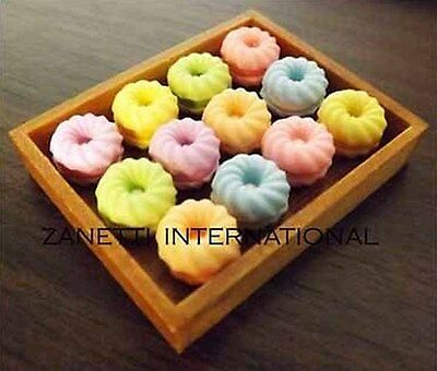 12 Dollhouse Miniature Assorted Macaroons on Wooden Tray *Food / Cakes / Cookies
