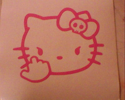 Hello Kitty Middle Finger Skull Bow Flipping Off Car Vinyl Window Decal Sticker