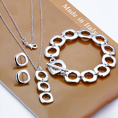 Wholesale Solid 925 Sterling Silver SP Square Bracelet/Necklace/Earring Set S4