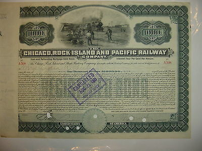 $1,000 Chicago Rock Island & Pacific Railroad Bond Stock Certificate