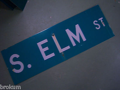 "Vintage ORIGINAL S. ELM ST STREET SIGN 36"" X 12"" WHITE LETTERING ON GREEN"