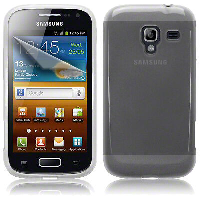 Clear Gel Jelly Case Cover & 3 Screen LCD Guard For Samsung Galaxy Ace 2 I8160