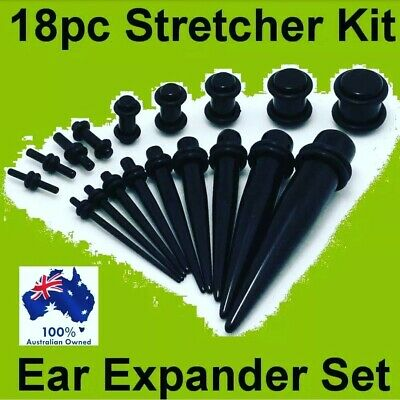 Quality 18pc Black Ear STRETCHER KIT Stretching Expander Tapers Plugs Tunnel Set