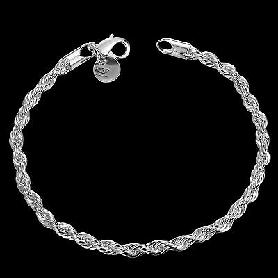 Stunning 925 Sterling Silver Layered Classic Women's 4MM Solid Chain Bracelet