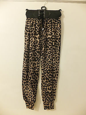 "Girl's  Baggy Trousers 3"" Elasticated Waist Band Leopard Print"