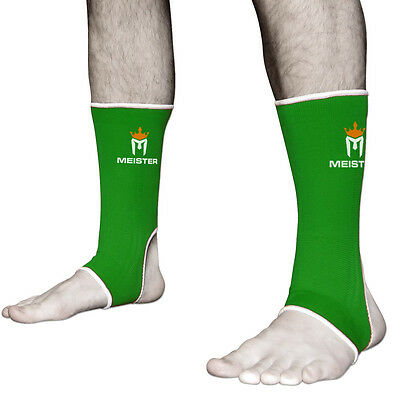 GREEN MUAY THAI ANKLE SUPPORTS ADULT - Meister MMA Compression Wraps NEW (PAIR)