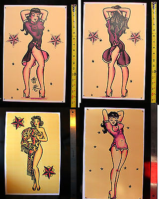 FOUR Japan Pin Up Girls Nude Sailor Jerry Style Traditional Tattoo poster print
