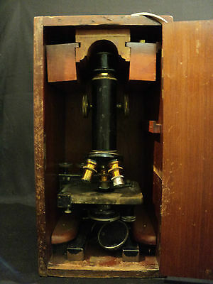 NICE ANTIQUE SPENCER CAST IRON & BRASS MICROSCOPE w/ WOODEN CASE