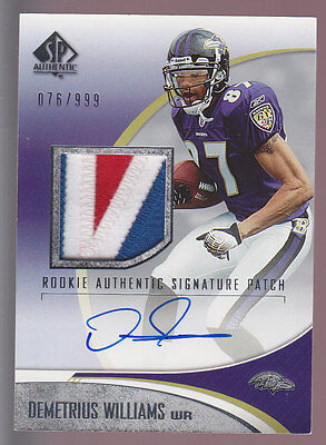 2006 SP Authentic Rookie Auto 3 CLR Patch #233 Demetrius Williams RC 76/999