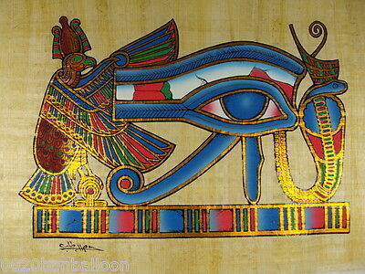 "Ancient Horus Eye Original Egyptian  Hand Painted Papyrus 12""X16"" (30x40 Cm)"