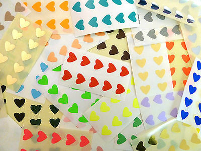 Small 13x12mm Heart Stickers, Self-Adhesive Coloured Hearts, Labels for Craft