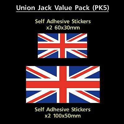 Union Jack England Flag Sticker Decals - Value Pack! - GB, Van, Car, Truck