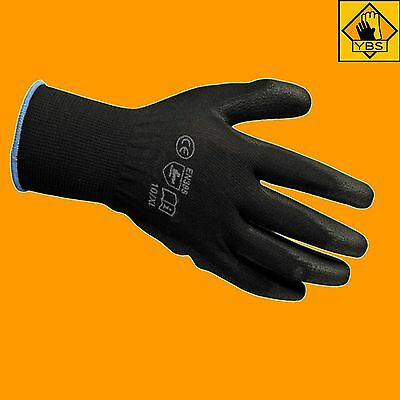 1, 12, 24,  Pairs New Black Safety Work Gloves Pu Coated Mechanic Gardening Grip